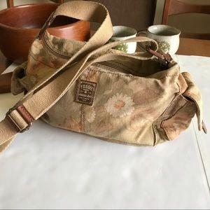 Fossil | Floral Cotton Fabric Shoulder Bag Pockets